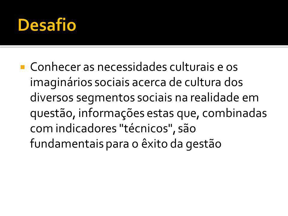  Conhecer as necessidades culturais e os imaginários sociais acerca de cultura dos diversos segmentos sociais na realidade em questão, informações es