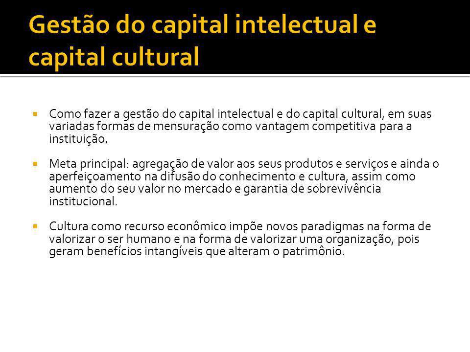  Como fazer a gestão do capital intelectual e do capital cultural, em suas variadas formas de mensuração como vantagem competitiva para a instituição