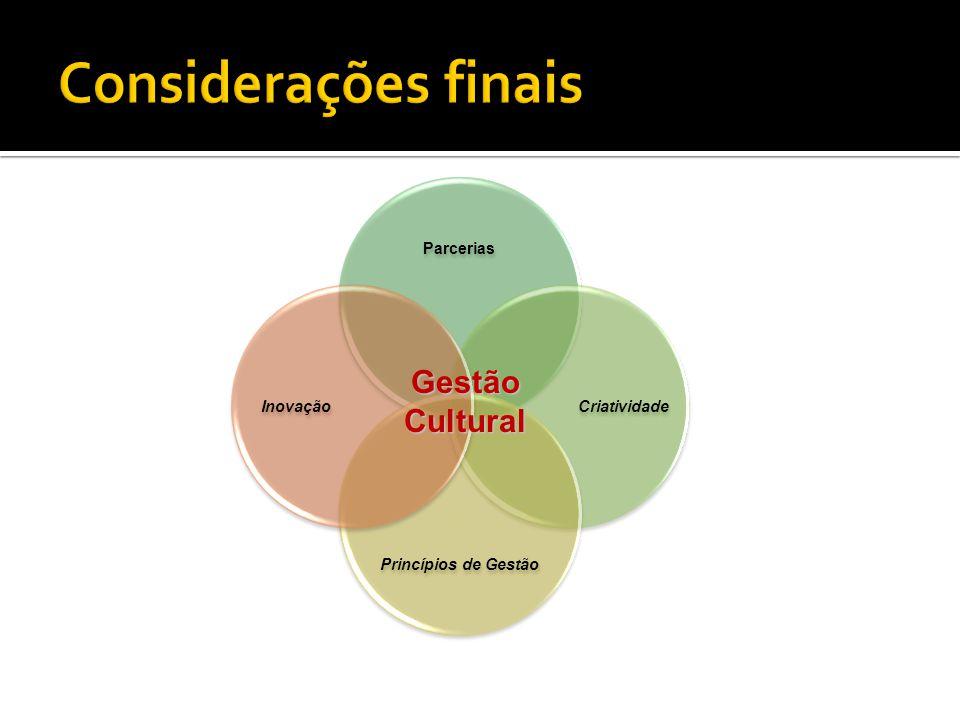 Parcerias Criatividade Princípios de Gestão Inovação Gestão Cultural