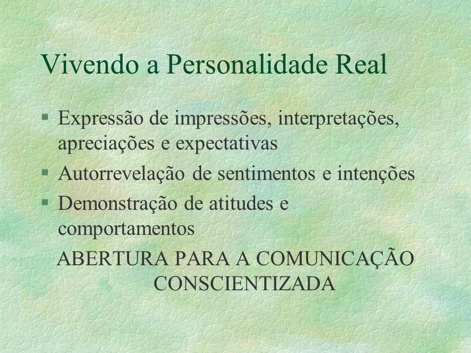 Vivendo a Personalidade Real §Expressão de impressões, interpretações, apreciações e expectativas §Autorrevelação de sentimentos e intenções §Demonstração de atitudes e comportamentos ABERTURA PARA A COMUNICAÇÃO CONSCIENTIZADA