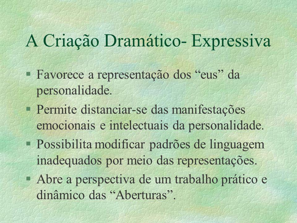 """A Criação Dramático- Expressiva §Favorece a representação dos """"eus"""" da personalidade. §Permite distanciar-se das manifestações emocionais e intelectua"""