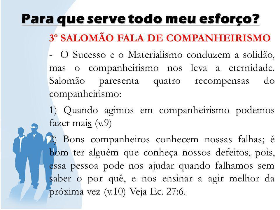 Para que serve todo meu esforço.3) A recompensa de um bom companheiro é o calor (v.11).
