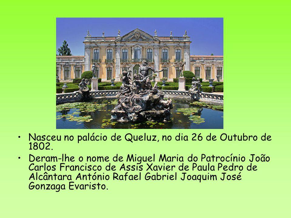 Nasceu no palácio de Queluz, no dia 26 de Outubro de 1802. Deram-lhe o nome de Miguel Maria do Patrocínio João Carlos Francisco de Assis Xavier de Pau