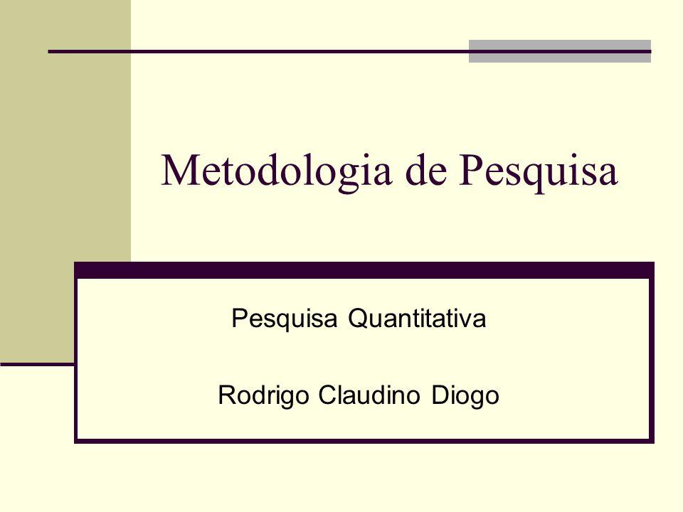 ©Rodrigo Claudino Diogo – rdiogo@gmail.com2 Roteiro Primeiras palavras Contextualizando A pesquisa quantitativa Características Validade interna Validade externa O instrumento de coleta de dados Obras consultadas