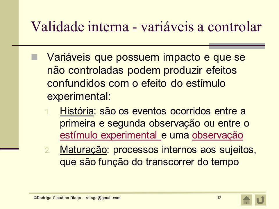 ©Rodrigo Claudino Diogo – rdiogo@gmail.com12 Validade interna - variáveis a controlar Variáveis que possuem impacto e que se não controladas podem pro