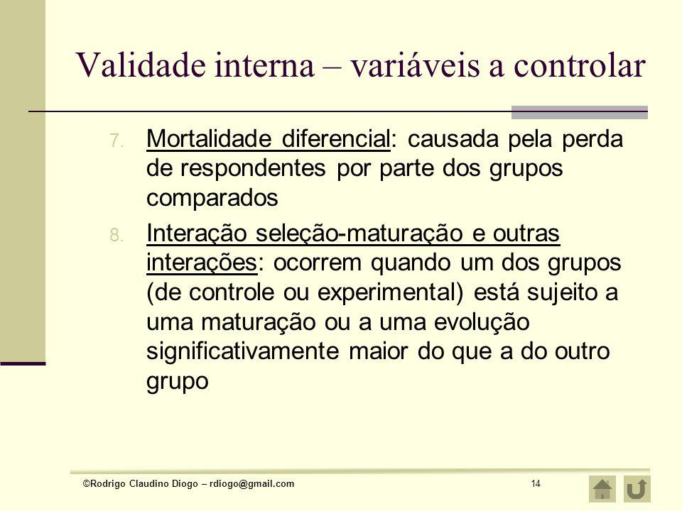 ©Rodrigo Claudino Diogo – rdiogo@gmail.com14 Validade interna – variáveis a controlar 7. Mortalidade diferencial: causada pela perda de respondentes p