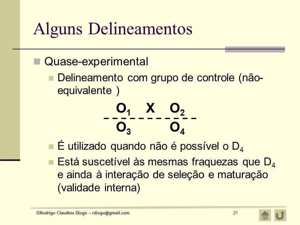 ©Rodrigo Claudino Diogo – rdiogo@gmail.com21 Alguns Delineamentos Quase-experimental Delineamento com grupo de controle (não- equivalente ) O1O1 XO2O2