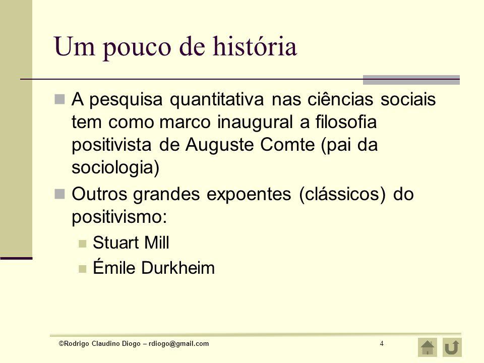 ©Rodrigo Claudino Diogo – rdiogo@gmail.com4 Um pouco de história A pesquisa quantitativa nas ciências sociais tem como marco inaugural a filosofia pos