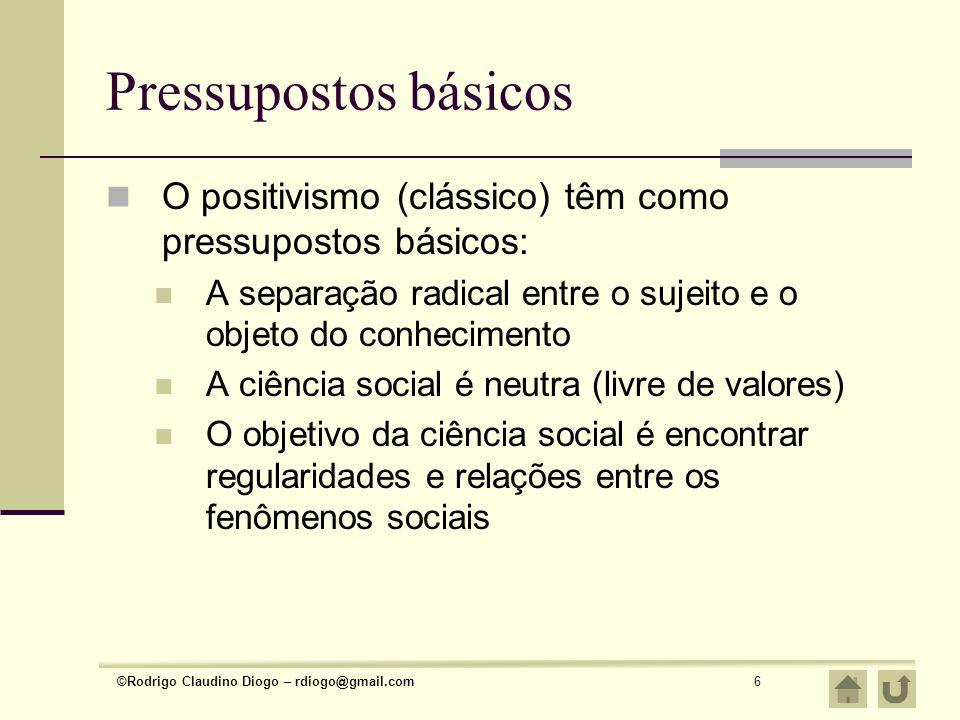 ©Rodrigo Claudino Diogo – rdiogo@gmail.com6 Pressupostos básicos O positivismo (clássico) têm como pressupostos básicos: A separação radical entre o s