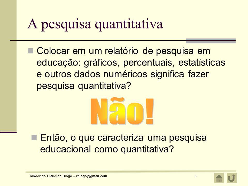 ©Rodrigo Claudino Diogo – rdiogo@gmail.com8 A pesquisa quantitativa Colocar em um relatório de pesquisa em educação: gráficos, percentuais, estatístic