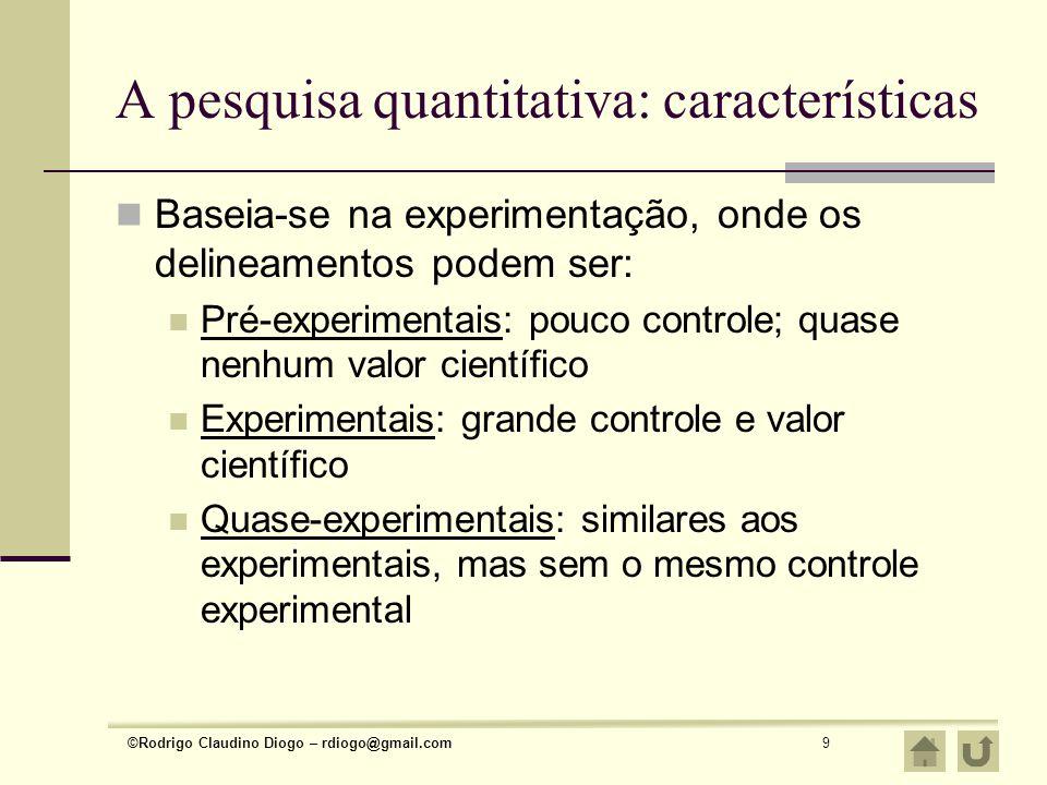 ©Rodrigo Claudino Diogo – rdiogo@gmail.com9 A pesquisa quantitativa: características Baseia-se na experimentação, onde os delineamentos podem ser: Pré