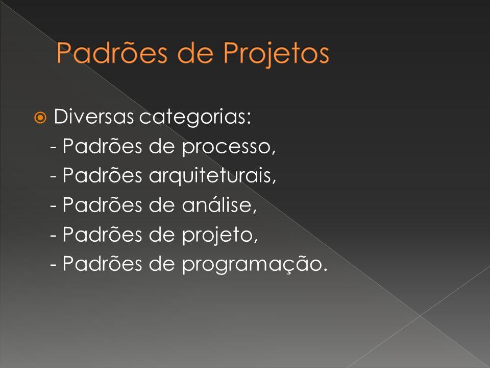  Diversas categorias: - Padrões de processo, - Padrões arquiteturais, - Padrões de análise, - Padrões de projeto, - Padrões de programação.