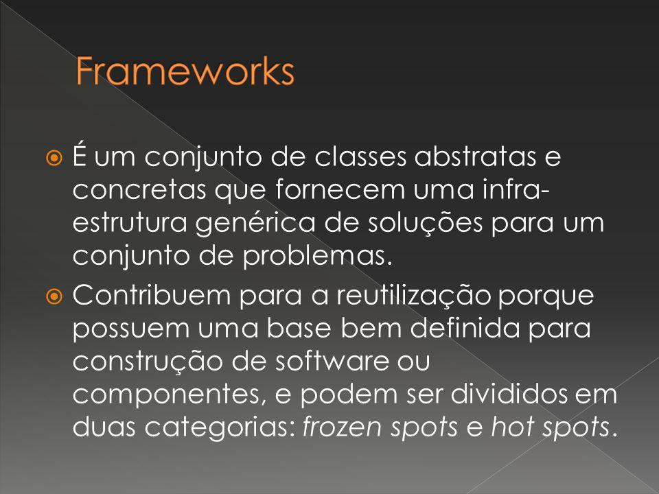  É um conjunto de classes abstratas e concretas que fornecem uma infra- estrutura genérica de soluções para um conjunto de problemas.  Contribuem pa