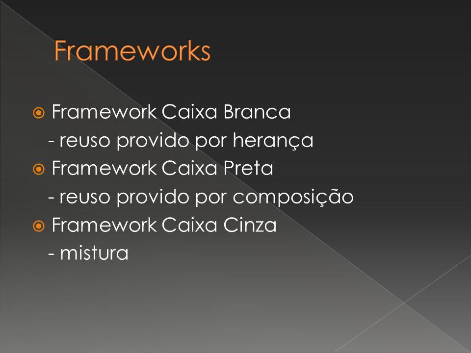  Framework Caixa Branca - reuso provido por herança  Framework Caixa Preta - reuso provido por composição  Framework Caixa Cinza - mistura