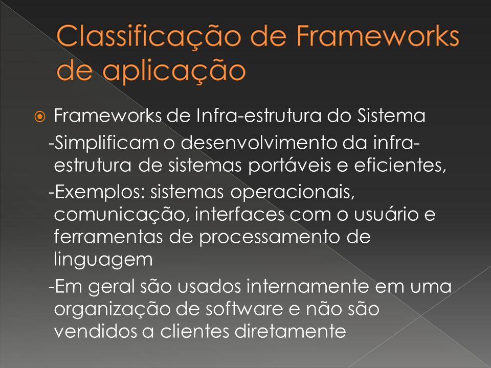  Frameworks de Infra-estrutura do Sistema -Simplificam o desenvolvimento da infra- estrutura de sistemas portáveis e eficientes, -Exemplos: sistemas operacionais, comunicação, interfaces com o usuário e ferramentas de processamento de linguagem -Em geral são usados internamente em uma organização de software e não são vendidos a clientes diretamente