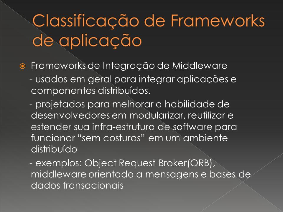  Frameworks de Integração de Middleware - usados em geral para integrar aplicações e componentes distribuídos. - projetados para melhorar a habilidad