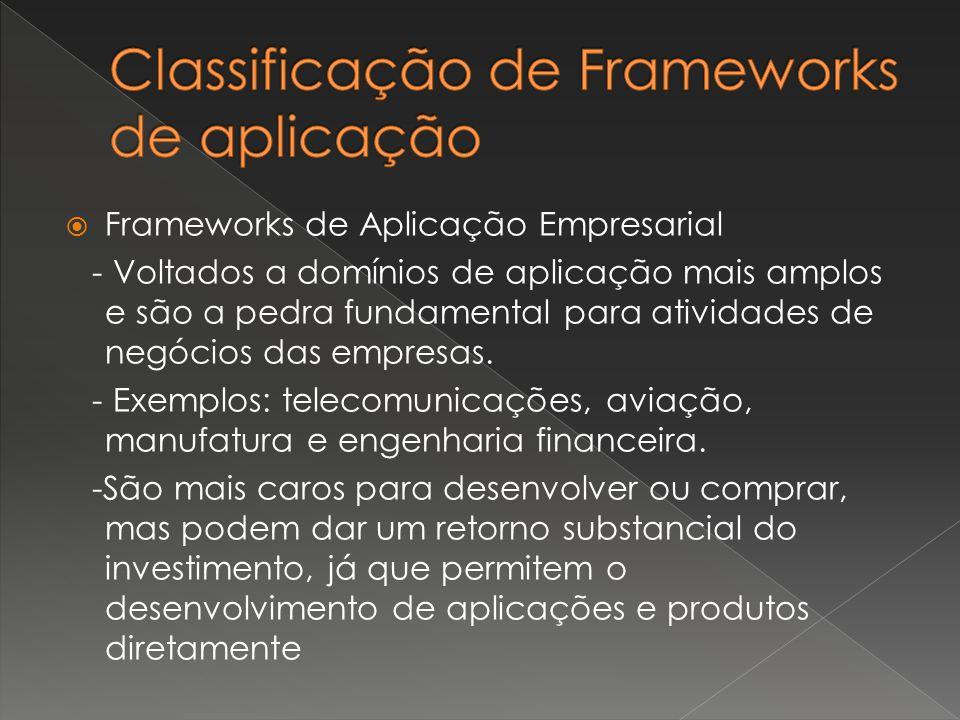  Frameworks de Aplicação Empresarial - Voltados a domínios de aplicação mais amplos e são a pedra fundamental para atividades de negócios das empresa