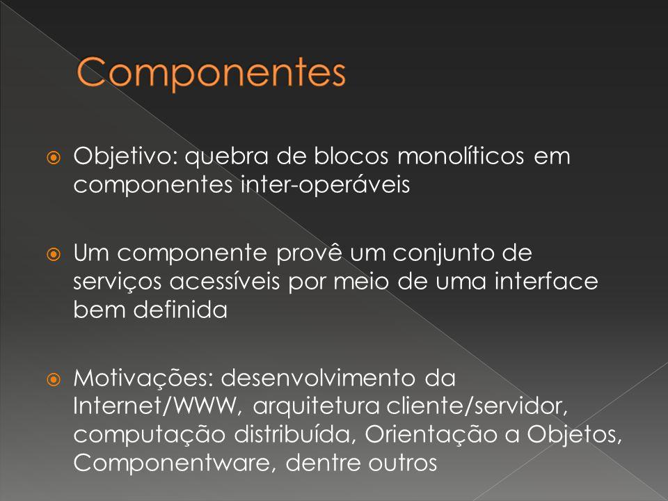  Objetivo: quebra de blocos monolíticos em componentes inter-operáveis  Um componente provê um conjunto de serviços acessíveis por meio de uma interface bem definida  Motivações: desenvolvimento da Internet/WWW, arquitetura cliente/servidor, computação distribuída, Orientação a Objetos, Componentware, dentre outros