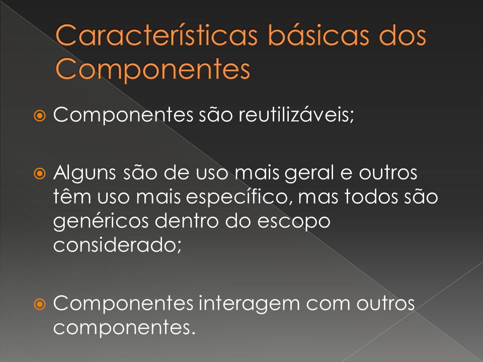  Componentes são reutilizáveis;  Alguns são de uso mais geral e outros têm uso mais específico, mas todos são genéricos dentro do escopo considerado;  Componentes interagem com outros componentes.