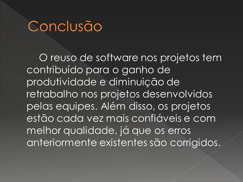 O reuso de software nos projetos tem contribuído para o ganho de produtividade e diminuição de retrabalho nos projetos desenvolvidos pelas equipes.