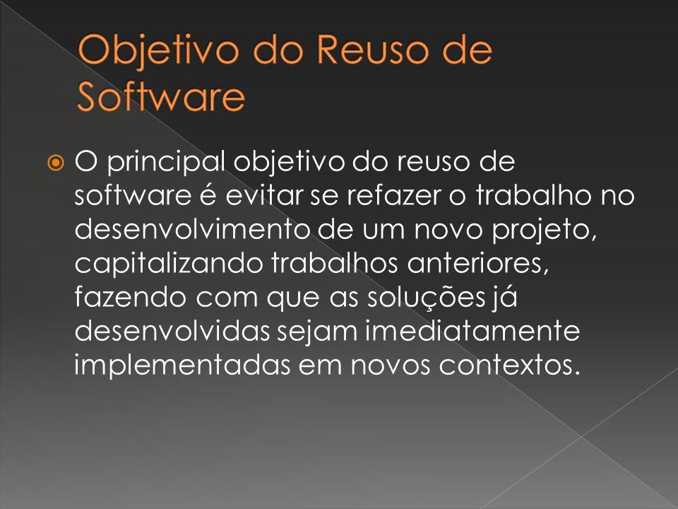  O principal objetivo do reuso de software é evitar se refazer o trabalho no desenvolvimento de um novo projeto, capitalizando trabalhos anteriores, fazendo com que as soluções já desenvolvidas sejam imediatamente implementadas em novos contextos.