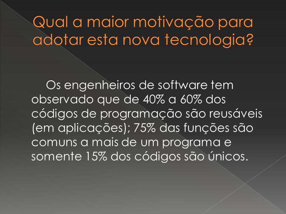Os engenheiros de software tem observado que de 40% a 60% dos códigos de programação são reusáveis (em aplicações); 75% das funções são comuns a mais de um programa e somente 15% dos códigos são únicos.