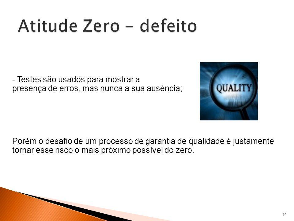 14 - Testes são usados para mostrar a presença de erros, mas nunca a sua ausência; Porém o desafio de um processo de garantia de qualidade é justamente tornar esse risco o mais próximo possível do zero.