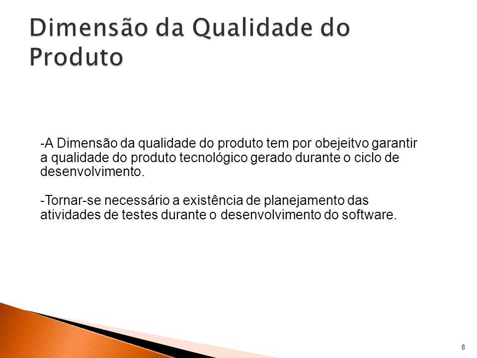 8 -A Dimensão da qualidade do produto tem por obejeitvo garantir a qualidade do produto tecnológico gerado durante o ciclo de desenvolvimento.