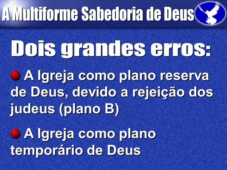 A Igreja como plano reserva de Deus, devido a rejeição dos judeus (plano B) A Igreja como plano temporário de Deus A Igreja como plano reserva de Deus