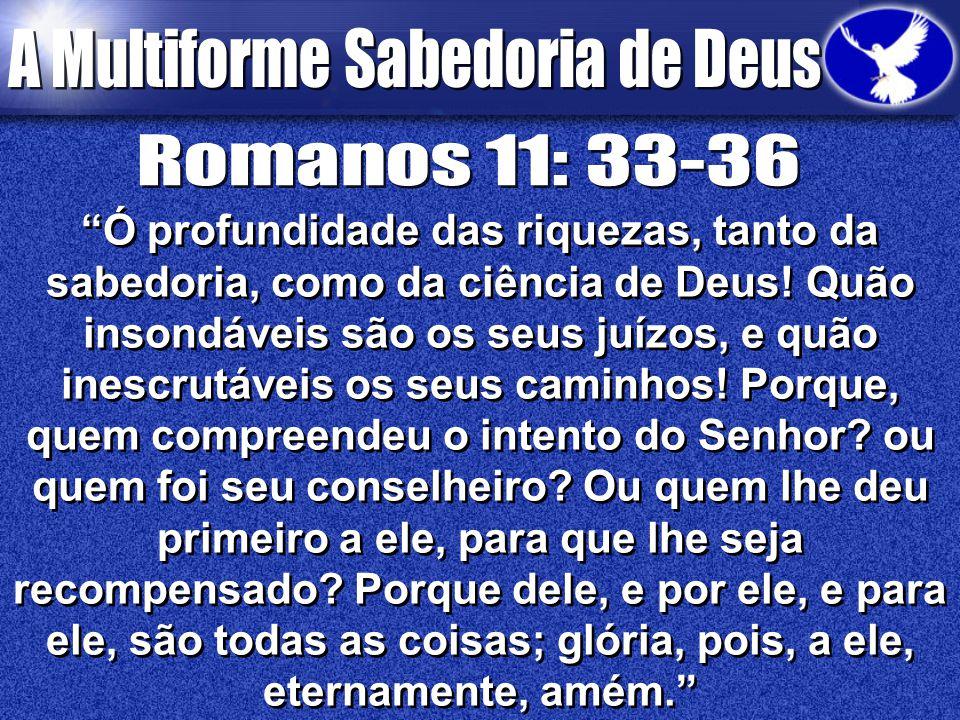 """""""Ó profundidade das riquezas, tanto da sabedoria, como da ciência de Deus! Quão insondáveis são os seus juízos, e quão inescrutáveis os seus caminhos!"""