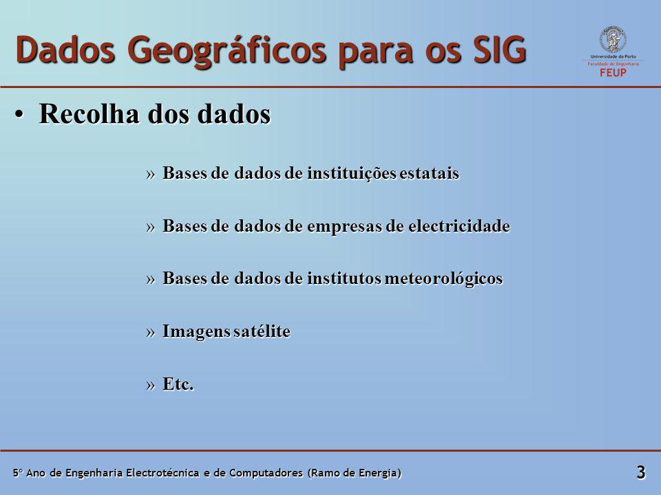 5º Ano de Engenharia Electrotécnica e de Computadores (Ramo de Energia) 4 Dados Geográficos para os SIG Formatos SIGFormatos SIG RasterRaster VectorialVectorial PoligonalPoligonal