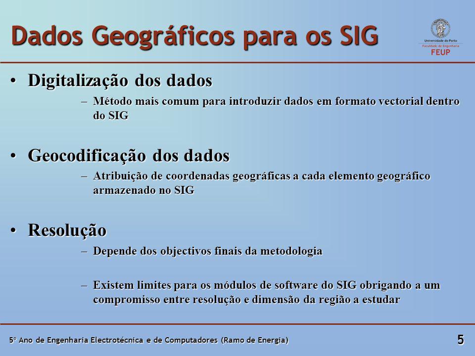 5º Ano de Engenharia Electrotécnica e de Computadores (Ramo de Energia) 5 Dados Geográficos para os SIG Digitalização dos dadosDigitalização dos dados –Método mais comum para introduzir dados em formato vectorial dentro do SIG Geocodificação dos dadosGeocodificação dos dados –Atribuição de coordenadas geográficas a cada elemento geográfico armazenado no SIG ResoluçãoResolução –Depende dos objectivos finais da metodologia –Existem limites para os módulos de software do SIG obrigando a um compromisso entre resolução e dimensão da região a estudar