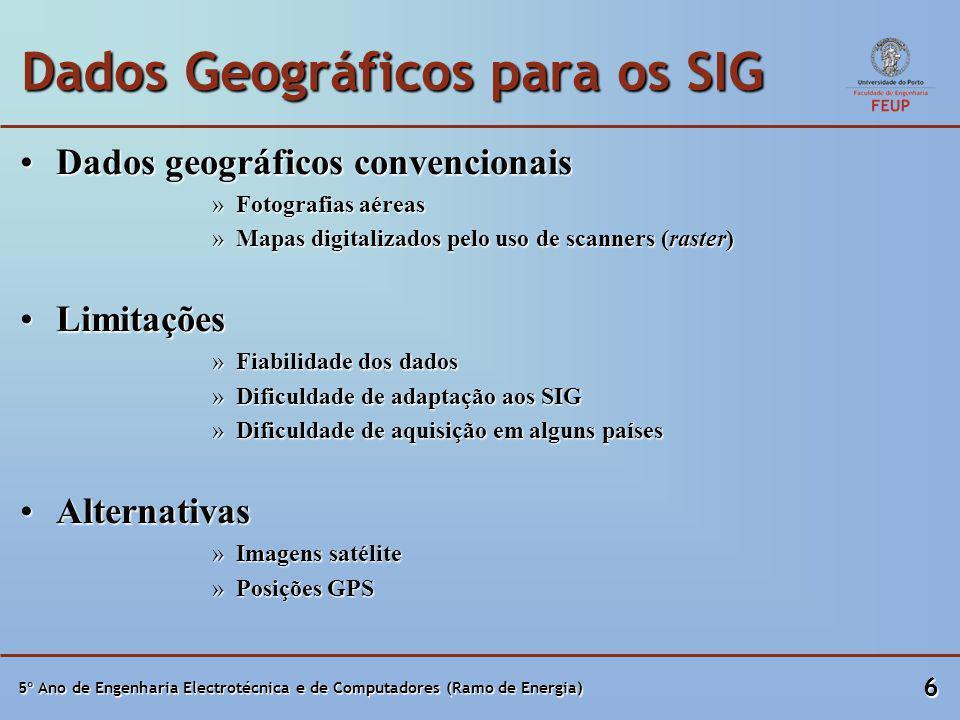 5º Ano de Engenharia Electrotécnica e de Computadores (Ramo de Energia) 6 Dados Geográficos para os SIG Dados geográficos convencionaisDados geográficos convencionais »Fotografias aéreas »Mapas digitalizados pelo uso de scanners (raster) LimitaçõesLimitações »Fiabilidade dos dados »Dificuldade de adaptação aos SIG »Dificuldade de aquisição em alguns países AlternativasAlternativas »Imagens satélite »Posições GPS