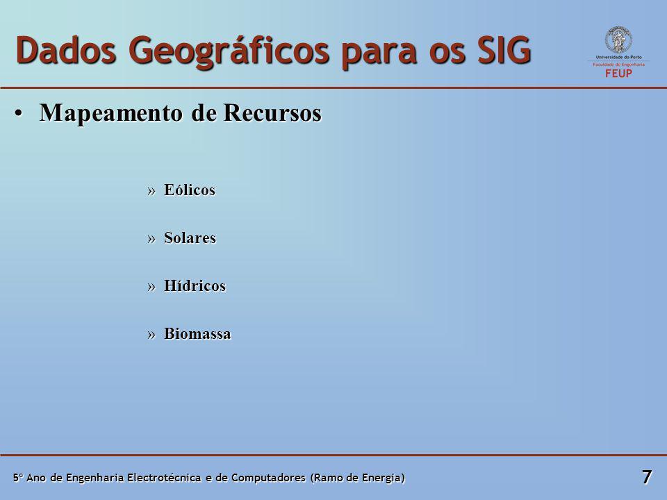5º Ano de Engenharia Electrotécnica e de Computadores (Ramo de Energia) 7 Dados Geográficos para os SIG Mapeamento de RecursosMapeamento de Recursos »Eólicos »Solares »Hídricos »Biomassa