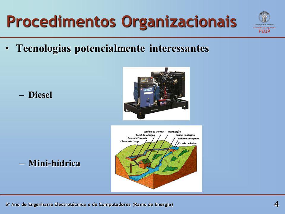 5º Ano de Engenharia Electrotécnica e de Computadores (Ramo de Energia) 4 Procedimentos Organizacionais Tecnologias potencialmente interessantesTecnol
