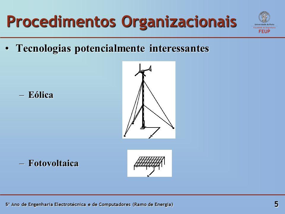 5º Ano de Engenharia Electrotécnica e de Computadores (Ramo de Energia) 5 Procedimentos Organizacionais Tecnologias potencialmente interessantesTecnol