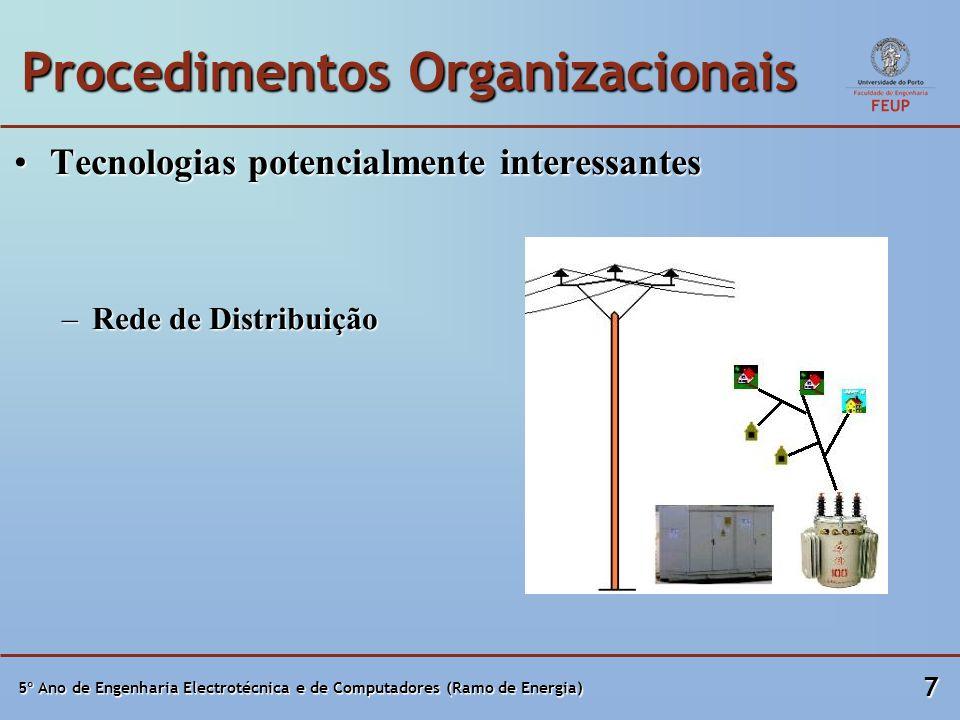 5º Ano de Engenharia Electrotécnica e de Computadores (Ramo de Energia) 7 Procedimentos Organizacionais Tecnologias potencialmente interessantesTecnologias potencialmente interessantes –Rede de Distribuição