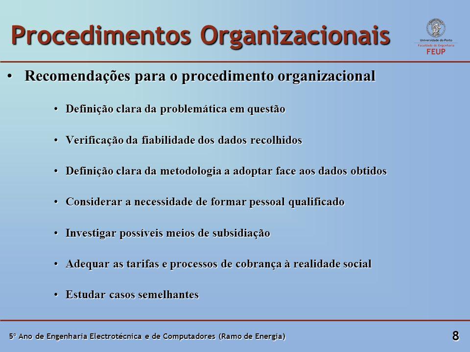 5º Ano de Engenharia Electrotécnica e de Computadores (Ramo de Energia) 8 Procedimentos Organizacionais Recomendações para o procedimento organizacionalRecomendações para o procedimento organizacional Definição clara da problemática em questãoDefinição clara da problemática em questão Verificação da fiabilidade dos dados recolhidosVerificação da fiabilidade dos dados recolhidos Definição clara da metodologia a adoptar face aos dados obtidosDefinição clara da metodologia a adoptar face aos dados obtidos Considerar a necessidade de formar pessoal qualificadoConsiderar a necessidade de formar pessoal qualificado Investigar possíveis meios de subsidiaçãoInvestigar possíveis meios de subsidiação Adequar as tarifas e processos de cobrança à realidade socialAdequar as tarifas e processos de cobrança à realidade social Estudar casos semelhantesEstudar casos semelhantes