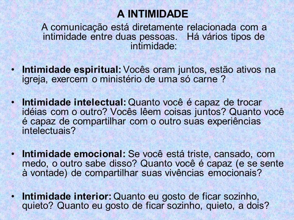 A INTIMIDADE A comunicação está diretamente relacionada com a intimidade entre duas pessoas. Há vários tipos de intimidade: Intimidade espiritual: Voc
