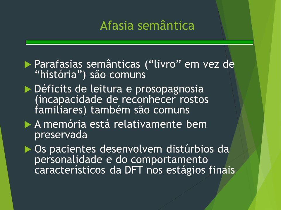 """Afasia semântica  Parafasias semânticas (""""livro"""" em vez de """"história"""") são comuns  Déficits de leitura e prosopagnosia (incapacidade de reconhecer r"""
