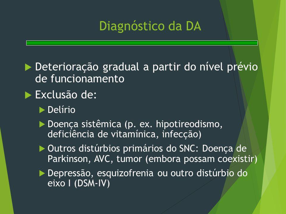 Diagnóstico da DA  Deterioração gradual a partir do nível prévio de funcionamento  Exclusão de:  Delírio  Doença sistêmica (p. ex. hipotireodismo,