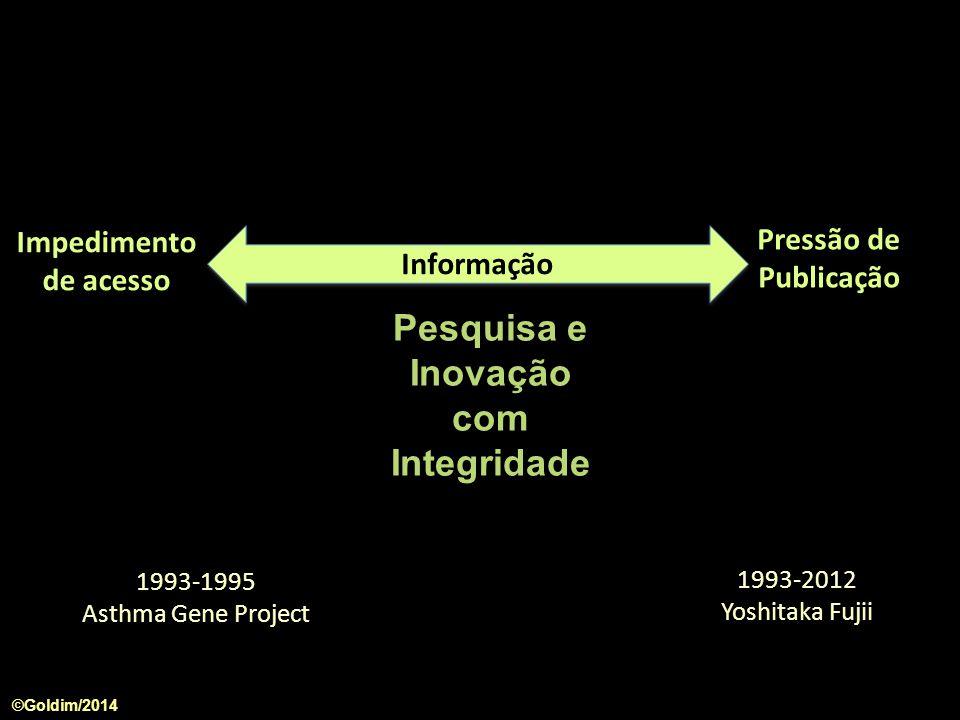 Informação Impedimento de acesso Pressão de Publicação 1993-1995 Asthma Gene Project 1993-2012 Yoshitaka Fujii Pesquisa e Inovação com Integridade ©Go