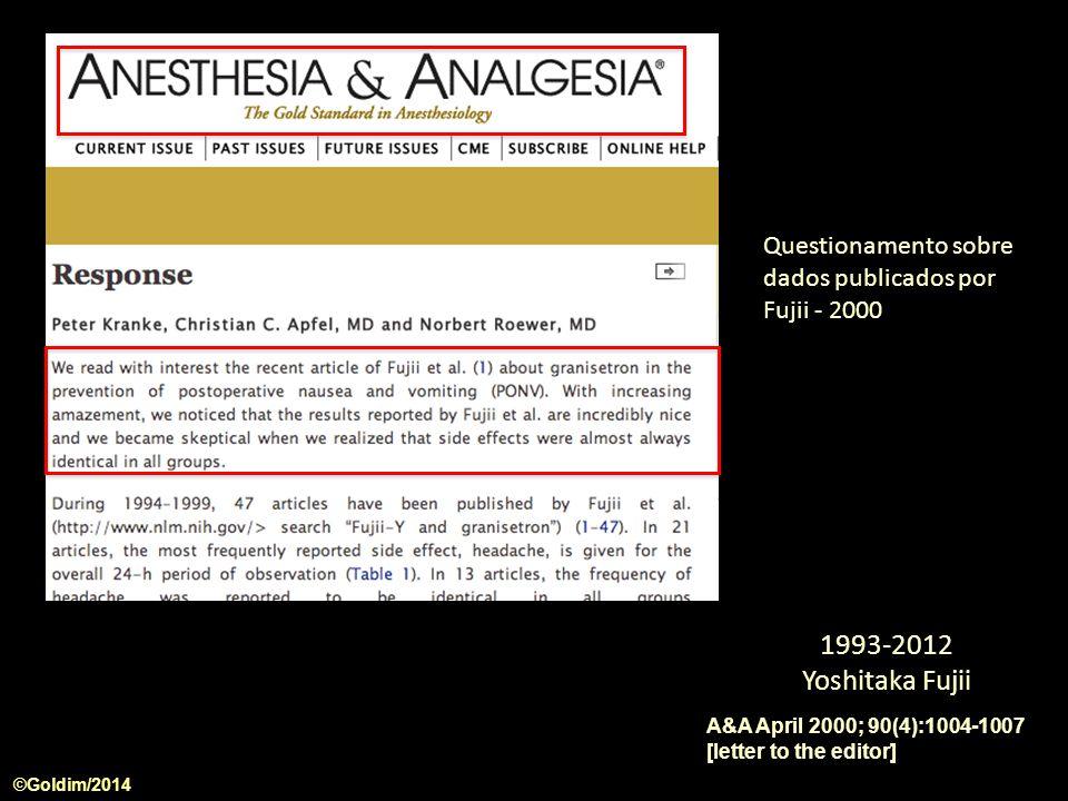 A&A April 2000; 90(4):1004-1007 [letter to the editor] ©Goldim/2014 1993-2012 Yoshitaka Fujii Questionamento sobre dados publicados por Fujii - 2000