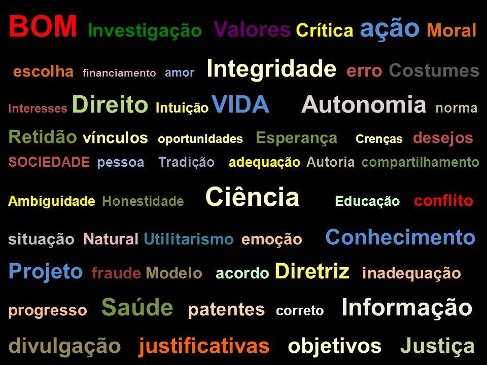 BOM Investigação Valores Crítica ação Moral escolha financiamento amor Integridade erro Costumes Interesses Direito Intuição VIDA Autonomia norma Reti