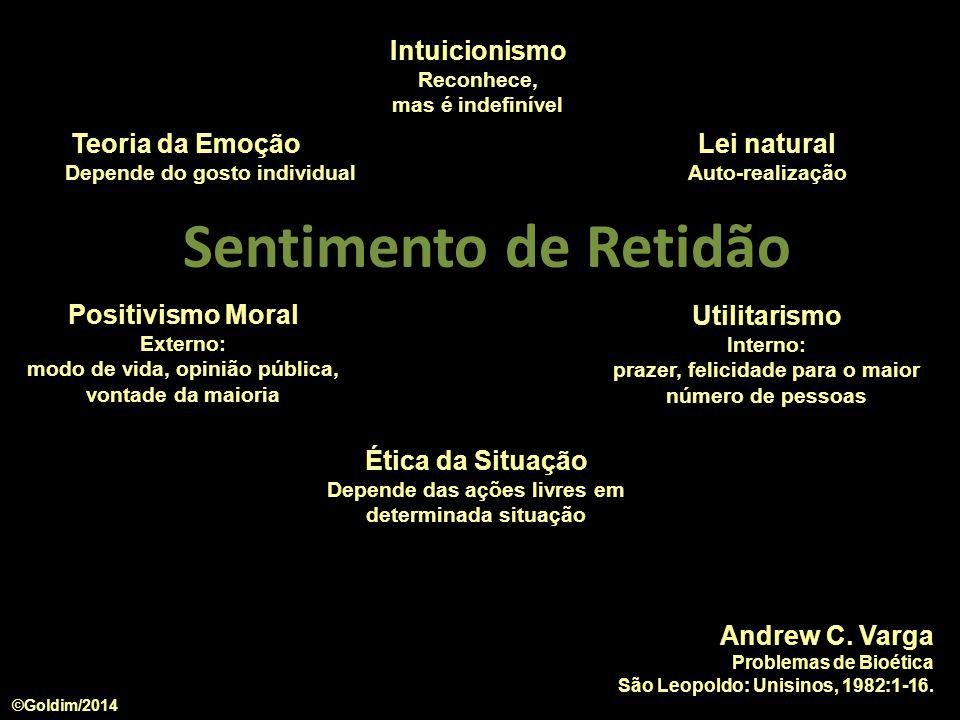 Andrew C. Varga Problemas de Bioética São Leopoldo: Unisinos, 1982:1-16. Teoria da Emoção Depende do gosto individual Intuicionismo Reconhece, mas é i