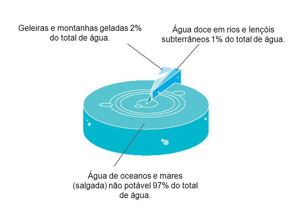 Geleiras e montanhas geladas 2% do total de água.