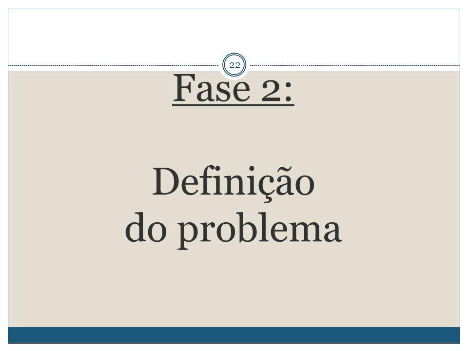 22 Fase 2: Definição do problema