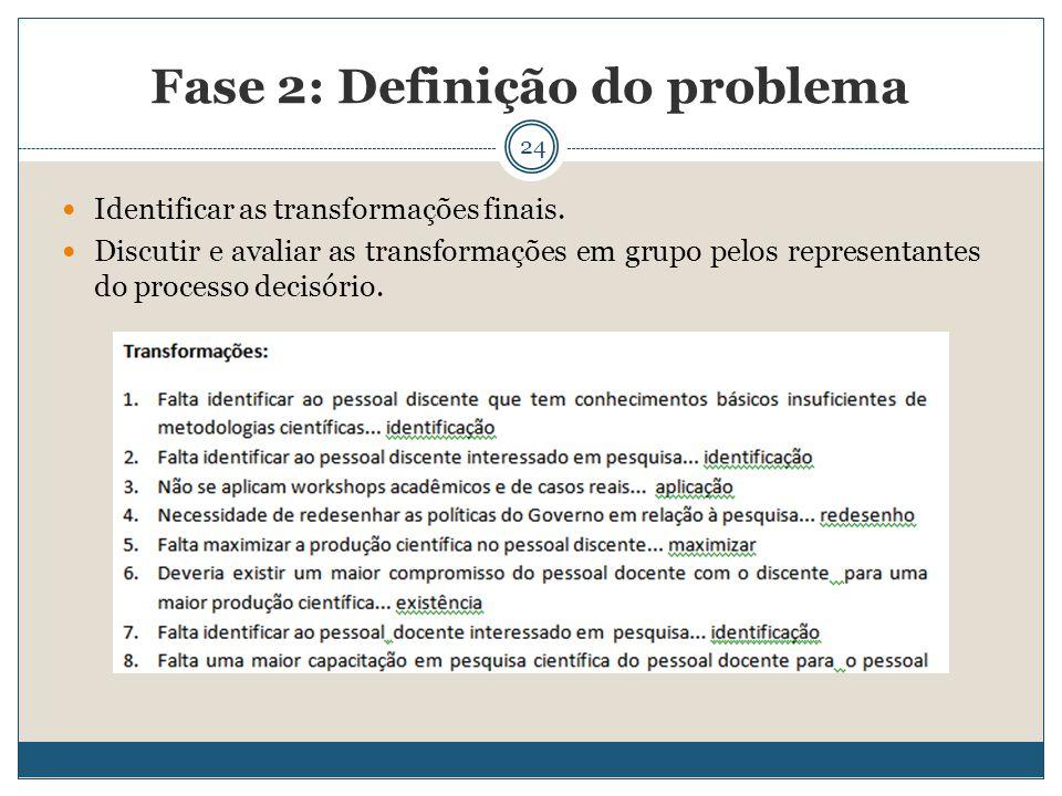 24 Identificar as transformações finais. Discutir e avaliar as transformações em grupo pelos representantes do processo decisório. Fase 2: Definição d