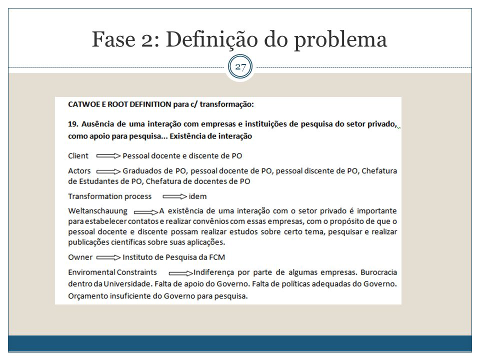 27 Fase 2: Definição do problema