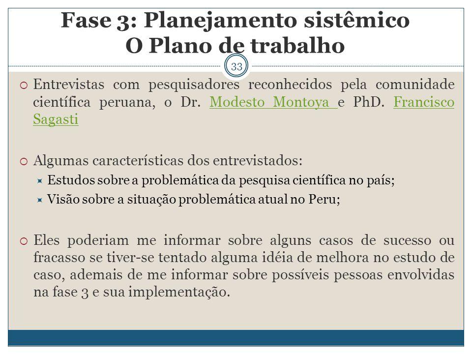 33  Entrevistas com pesquisadores reconhecidos pela comunidade científica peruana, o Dr. Modesto Montoya e PhD. Francisco SagastiModesto Montoya Fran